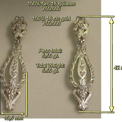 Pendientes de Oro Blanco y Circonitas para novias, tipo antiguo, con 2 cuerpos. [1]