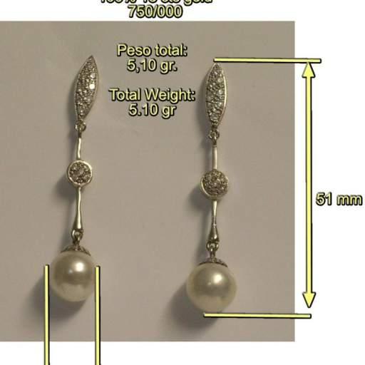 Pendientes para novia,  de Oro Blanco, Circonitas y Perla cultivada Japonesa. Articulado. 100% Oro 18 quilates. [1]