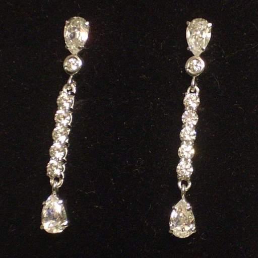 Pendientes largos oro blanco 18 quilates Circonitas Ideal novias [0]