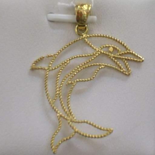Original Colgante Delfín Montado en Oro de 18 Quilates