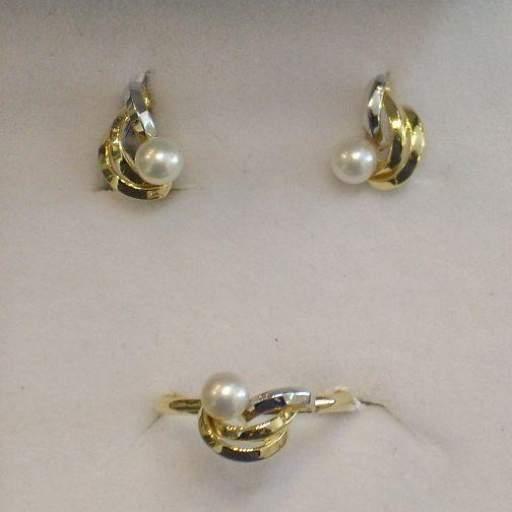 ¡Llévate Estos Pendientes Niña Comunion Oro Bicolor 18 Quilates Con Perlas Cultivadas!