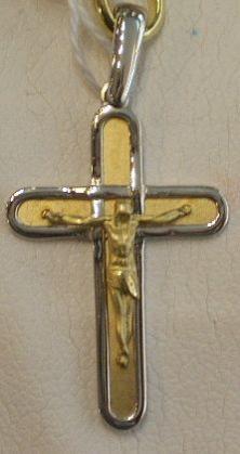 Original Cruz Con Cristo Montada en Oro Bicolor 18 Quilates , Forma Plana, Cristo y Fondo en Mate.
