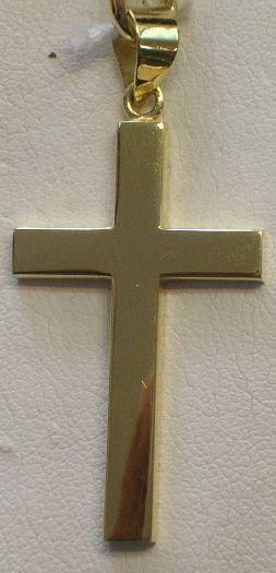 Gran Cruz Sin Cristo Montada en Oro 18 Quilates , Forma Cuadrada, Lisa.