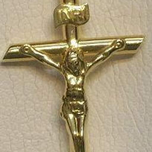 Bonita Cruz Con Cristo Montada en Oro 18 Quilates Amarillo Brillo, Forma de Tubo.