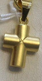 Original Cruz Pequeña Sin Cristo Montada en Oro Amarillo Mate