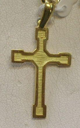 Original Cruz en Oro  Amarillo Mate y Brillo Plana Montada en Oro de 18 Kts