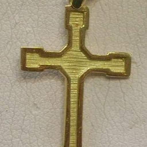Original Cruz en Oro  Amarillo Mate y Brillo Plana Montada en Oro de 18 Kts  [0]