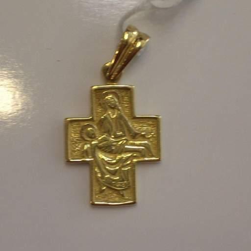 Preciosa Cruz de Oro Con Dibujo Labrado de La Piedad en su Interior ¡Fantástica!