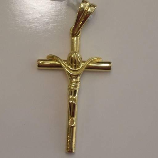Original Cruz de Oro Amarillo Con Cristo Tamaño Medio ¡Cómpratela!