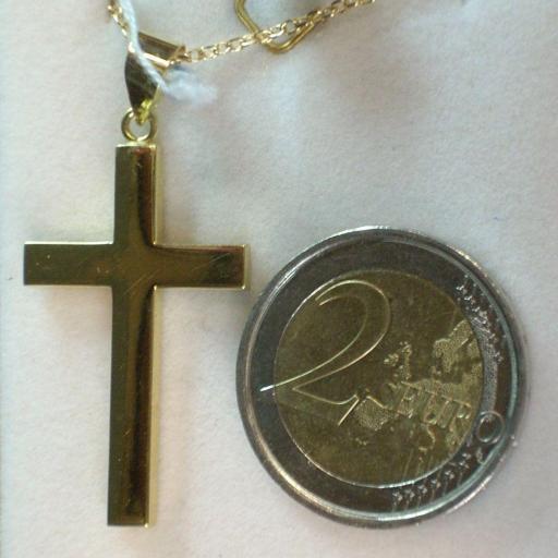 Gran Cruz Sin Cristo Montada en Oro 18 Quilates , Forma Cuadrada, Lisa. [1]