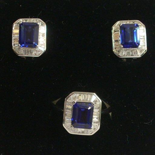 Pendientes Y Sortija Oro Blanco 18 Quilates Con Preciosos Diamantes Y Zafiros Azules [0]