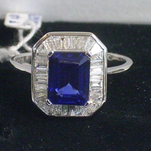 Pendientes Y Sortija Oro Blanco 18 Quilates Con Preciosos Diamantes Y Zafiros Azules [1]