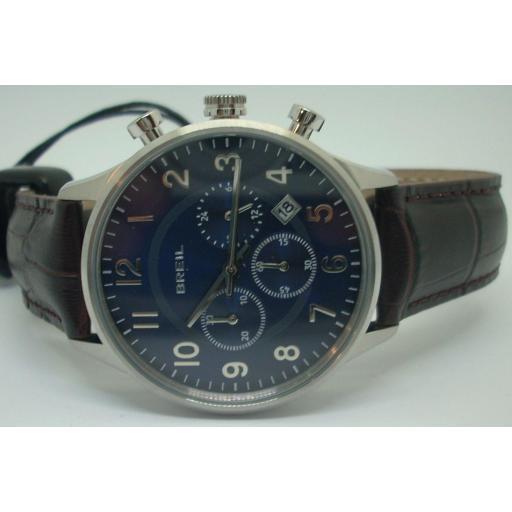 Reloj Breil de Hombre Multifuncion Azul Correa Piel Negra TW1576