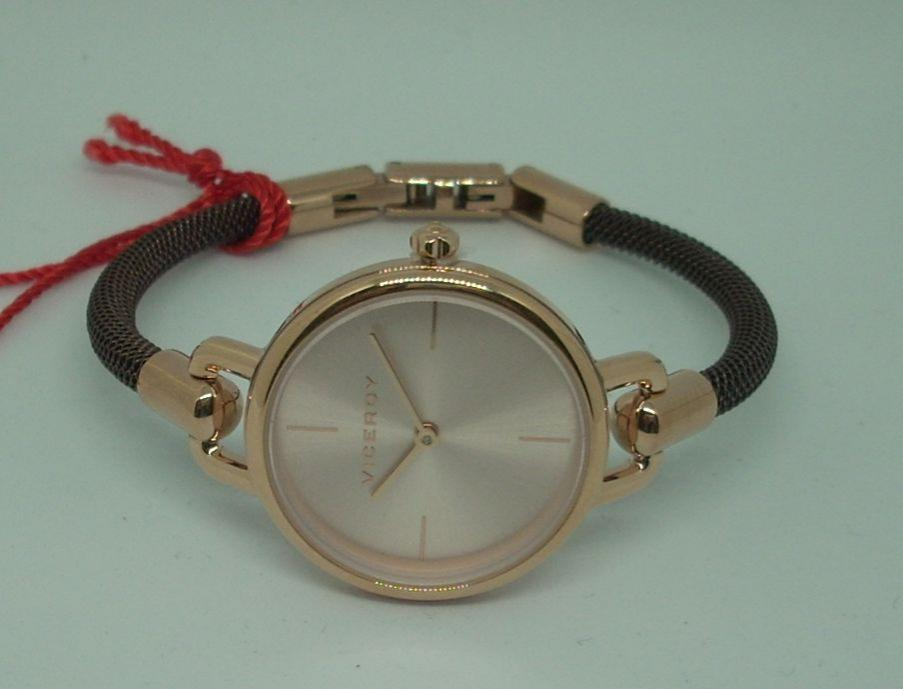 Reloj Viceroy Mujer Oro Rosa Original Pulsera Rigida Marron 42344-77