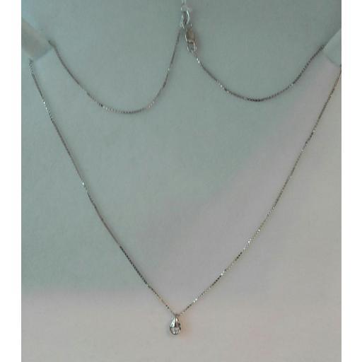 Fabuloso Collar De Oro Blanco Y Diamantes En 18 Quilates ¡Novedad! [1]