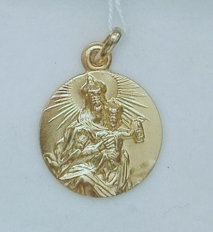 Medalla Oro Virgen Del Carmen Sin Filo 18 Quilates