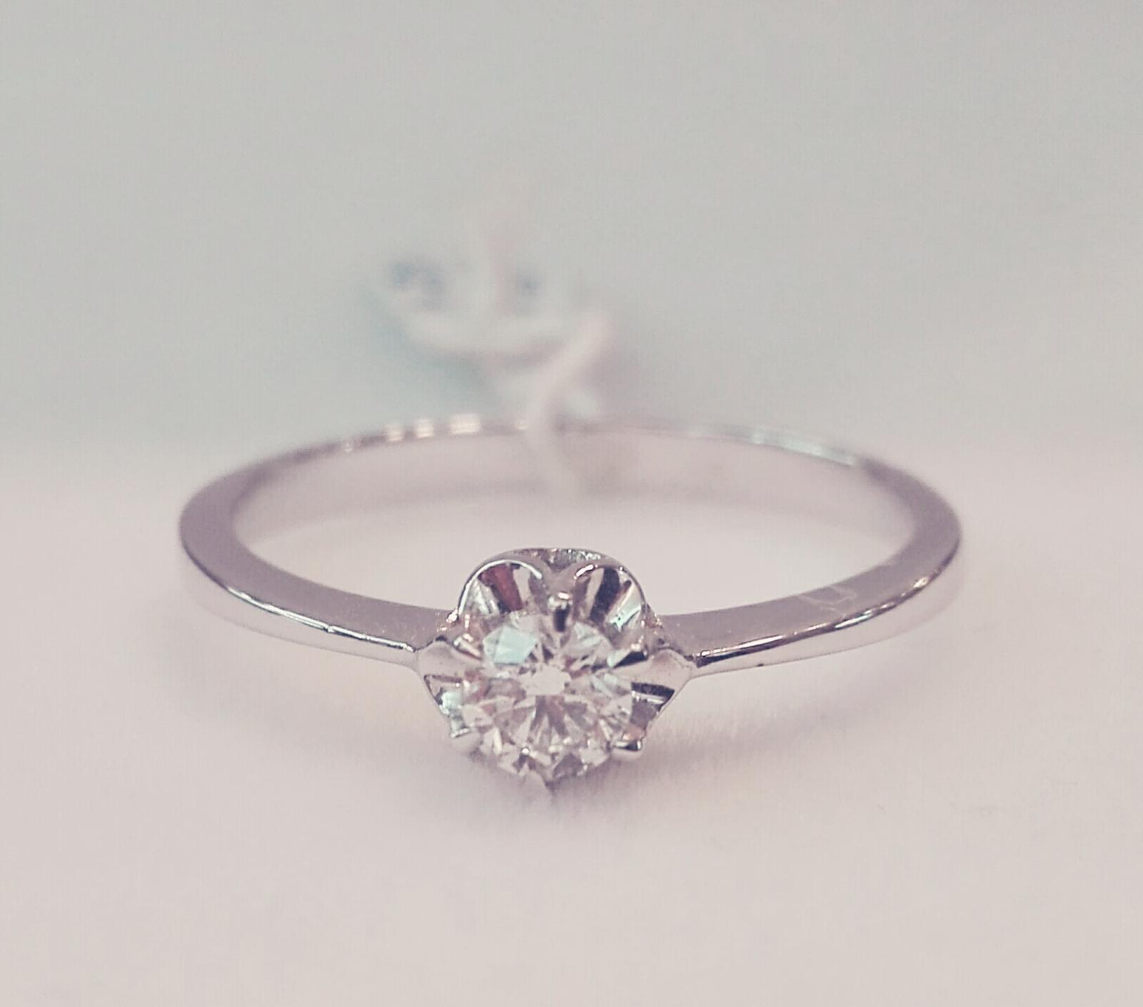 Anillo Diamantes Mujer Solitario Con Garras Oro Blanco 18 Quilates
