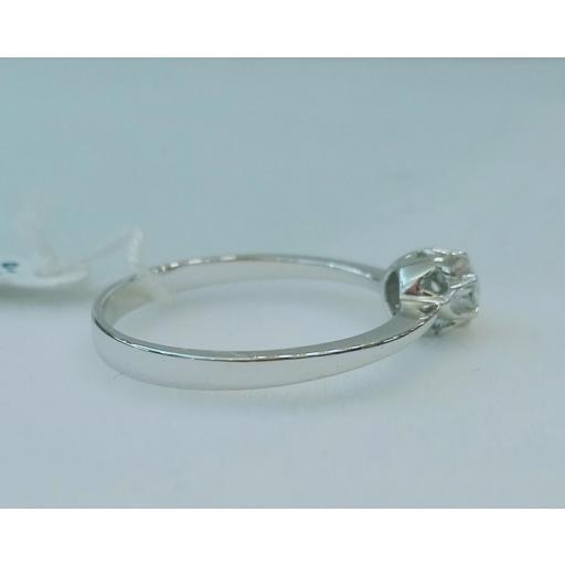 Anillo Diamantes Mujer Solitario Con Garras Oro Blanco 18 Quilates [1]