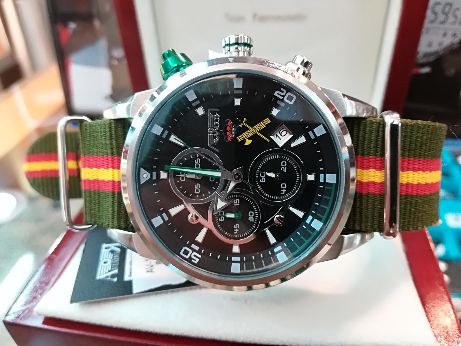Reloj Guardia Civil Correa Bandera España Aviador AV1060-19-NBV