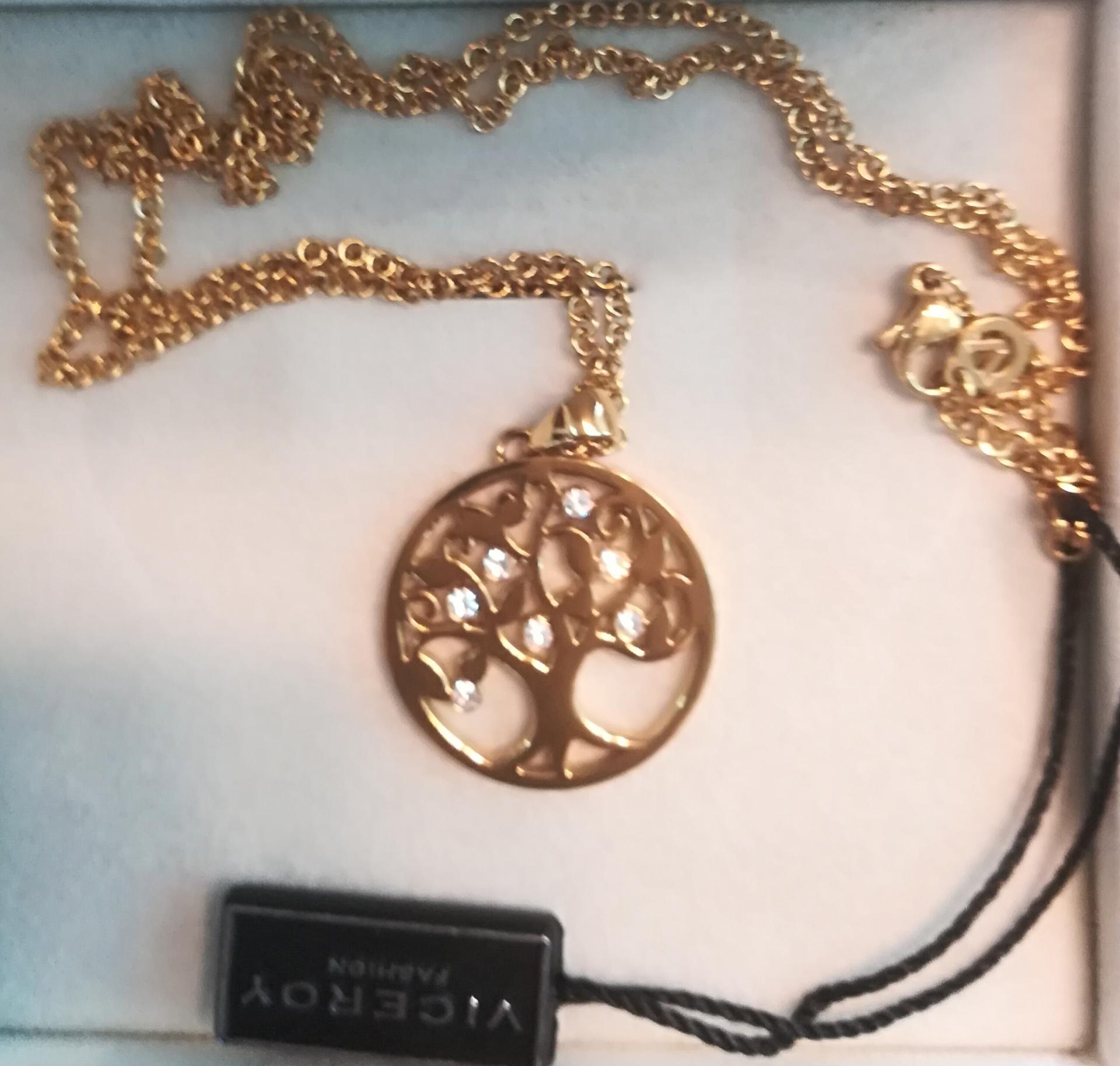 Collar Acero Dorado Arbol De La Vida De Viceroy
