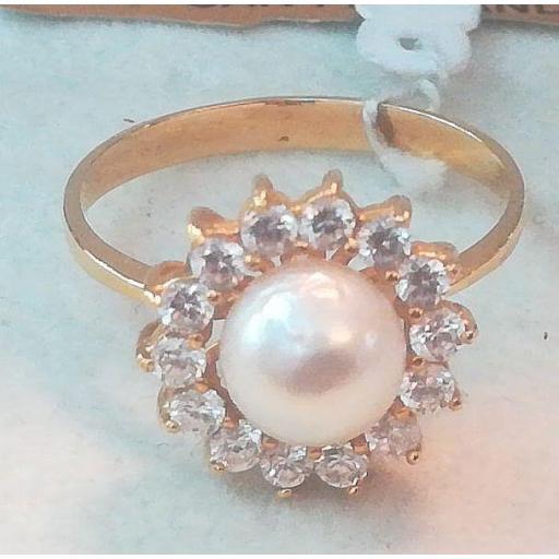 Anillo De Oro Con Perla Blanca Cultivada