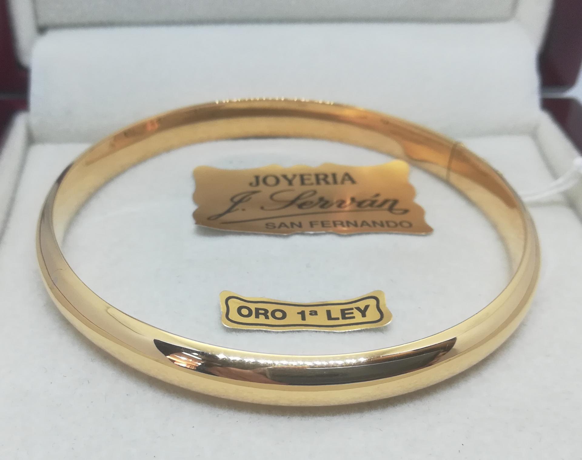 Pulsera Rigida Oro Amarillo Media Caña 7 mm