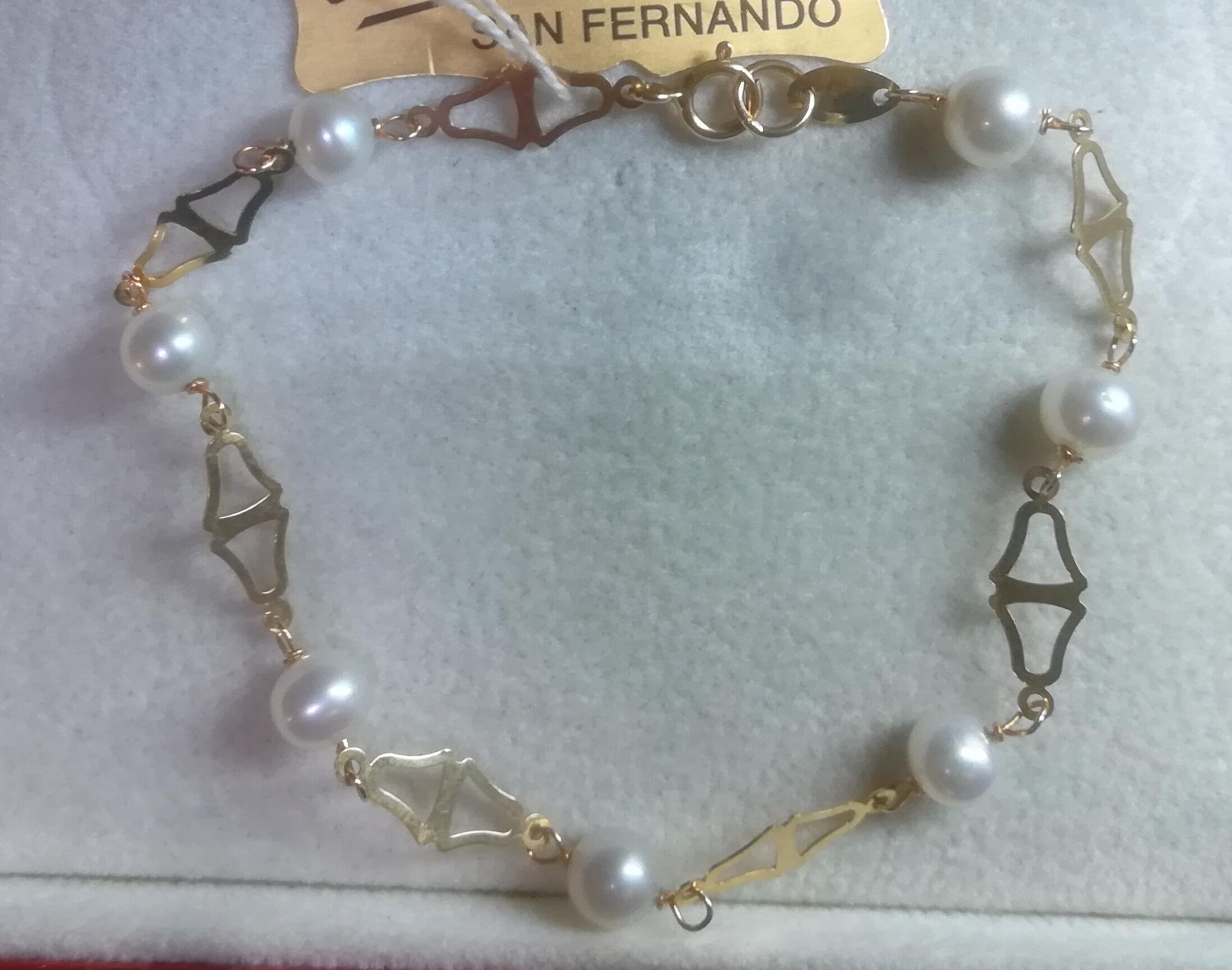 Bonita Pulsera para Niña Primera Comunión Fabricada en Oro Con Perlas Cultivadas