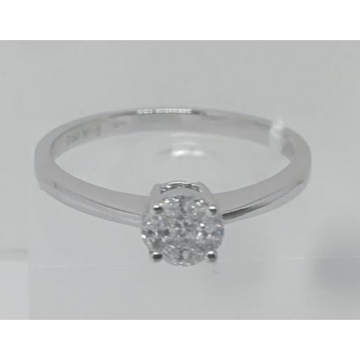 Anillo Solitario Diamante Oro Blanco [0]