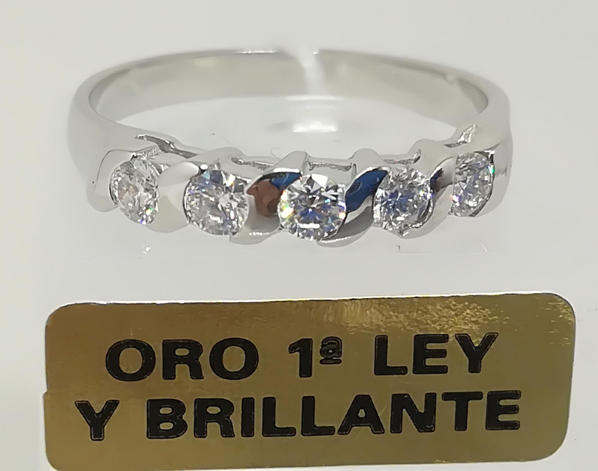Anillo Con Diamantes Para Mujer Quintillo Oro Blanco