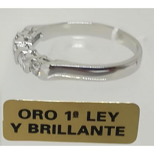 Anillo Con Diamantes Para Mujer Quintillo Oro Blanco [1]