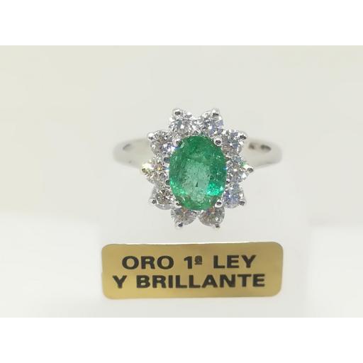 Anillo DiamantesY Esmeralda En Oro Blanco 18 Quilates