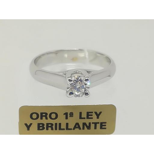 Anillo Solitario Diamante Oro 18 Quilates