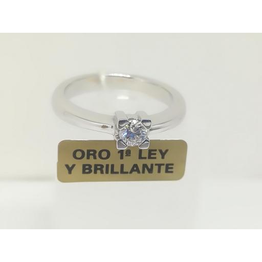 Anillo Diamantes Solitario En Oro 18 Quilates