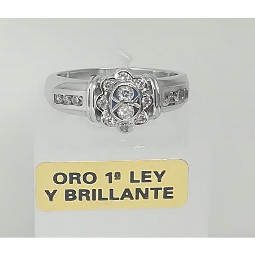 Anillo Diamantes Compromiso Oro Blanco