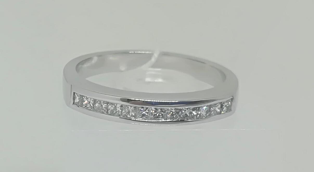 Anillo DiamantesModerno Ideal Para Compromiso Talla Princesa Oro Blanco