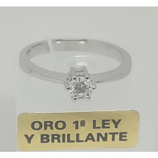 Solitario Con Diamante Oro Blanco 18 Quilates [0]