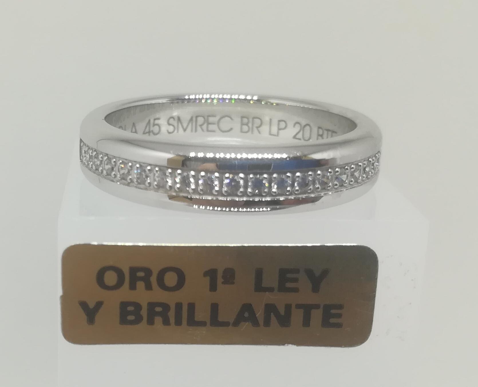 Alianza LK de Oro Blanco y Diamantes Semi Rectangular 0,20 Cts