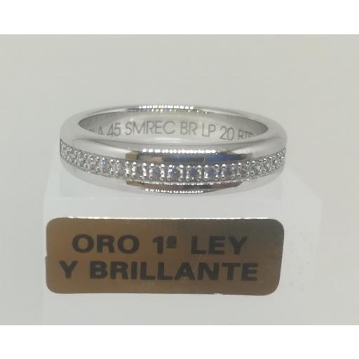 Alianza LK de Oro Blanco y Diamantes Semi Rectangular 0,20 Cts [0]