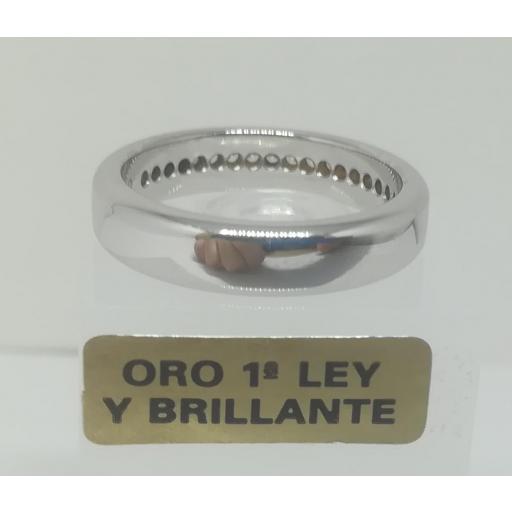 Alianza LK de Oro Blanco y Diamantes Semi Rectangular 0,20 Cts [2]