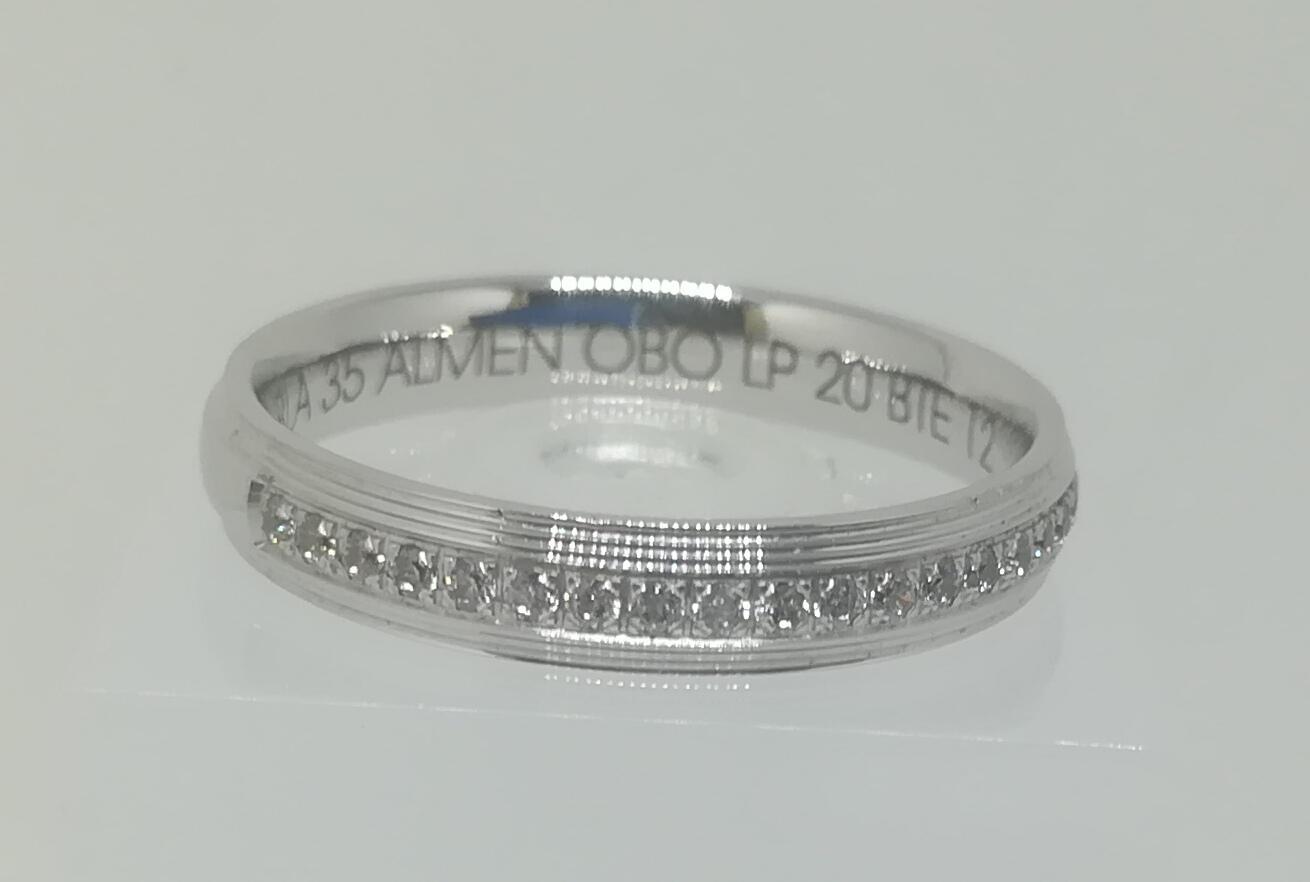 Anillo De Boda Con Diamantes ELEKA Oro Blanco Modelo Almendra