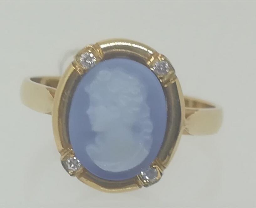 Anillo Agata Azul Y Camafeo En Oro 18 Quilates