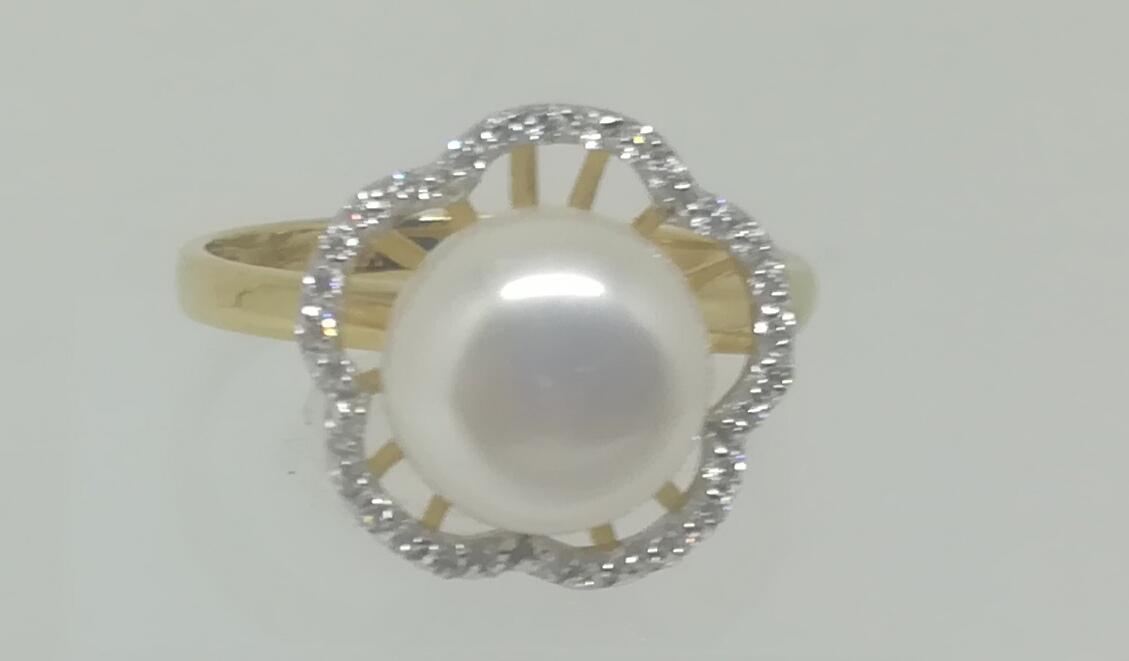 Anillo Oro Perla Fabricado En 18 Quilates