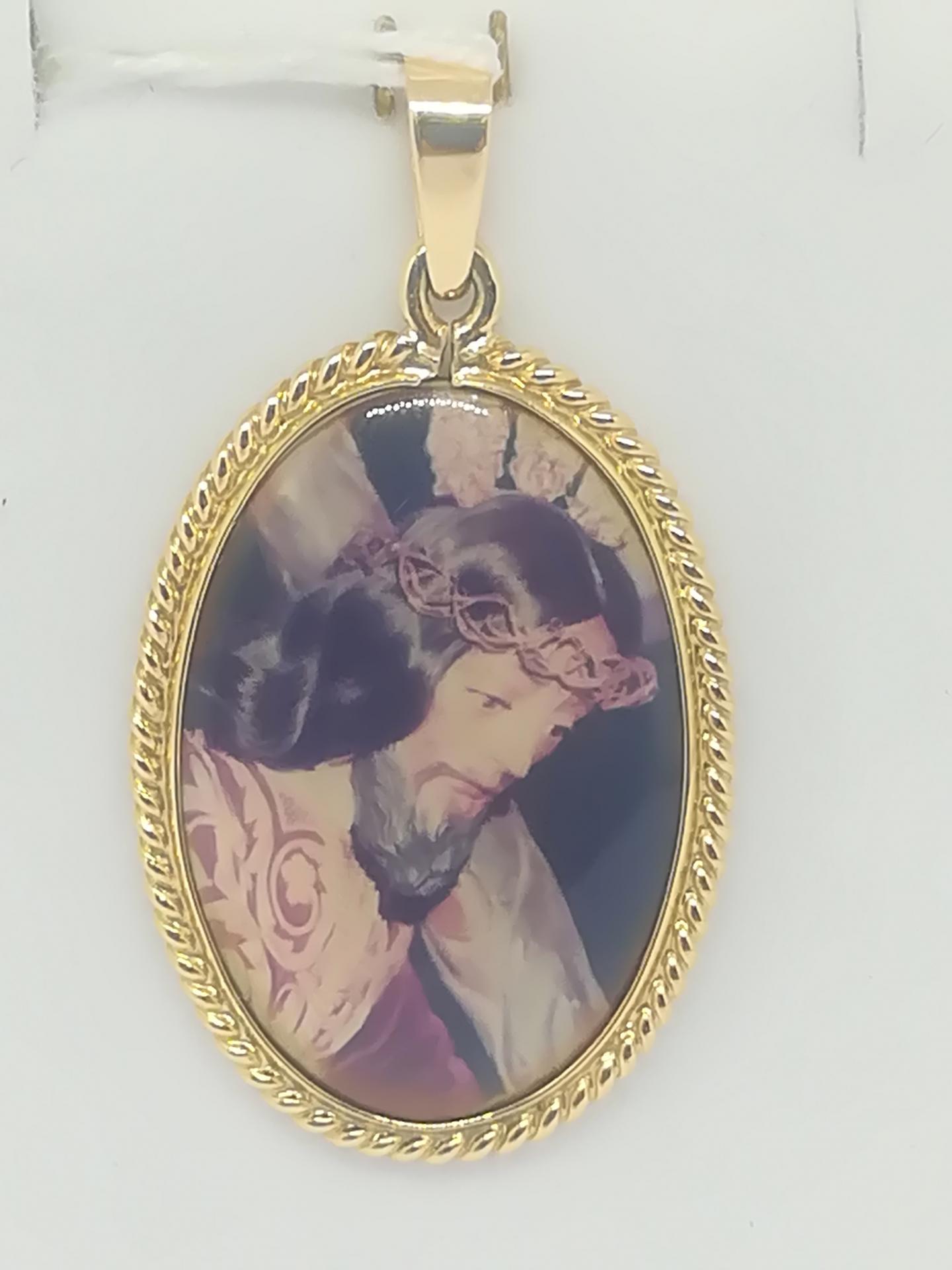 Colgante De Oro Nazareno Y Virgen Del Carmen 18 Quilates
