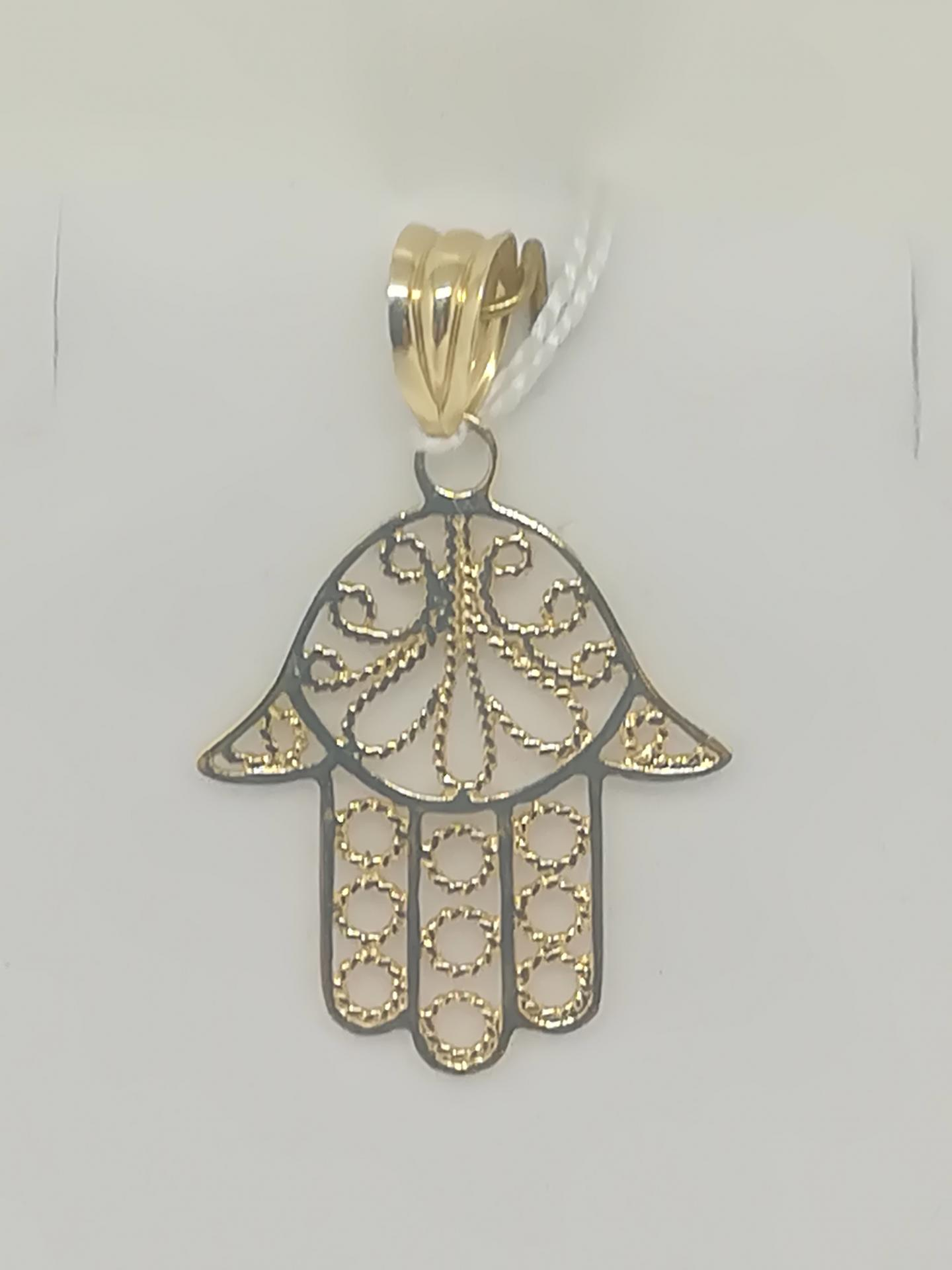 Colgante De Oro Mano De Fatima 18 Quilates