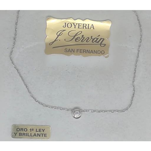 Collar Oro Blanco Con Colgante Punto De Luz De Diamante [1]