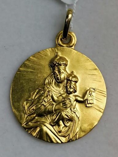 Medalla De La Virgen Del Carmen En Oro Sin Filo 18 Quilates