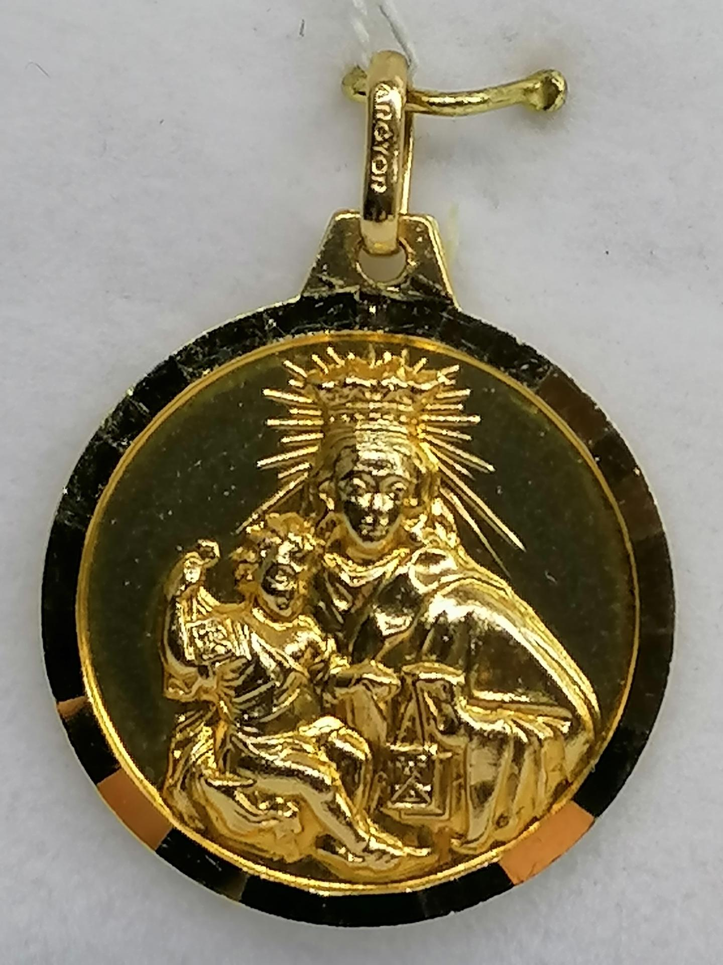 Medalla Labrada Virgen Del Carmen Oro 18 Quilates