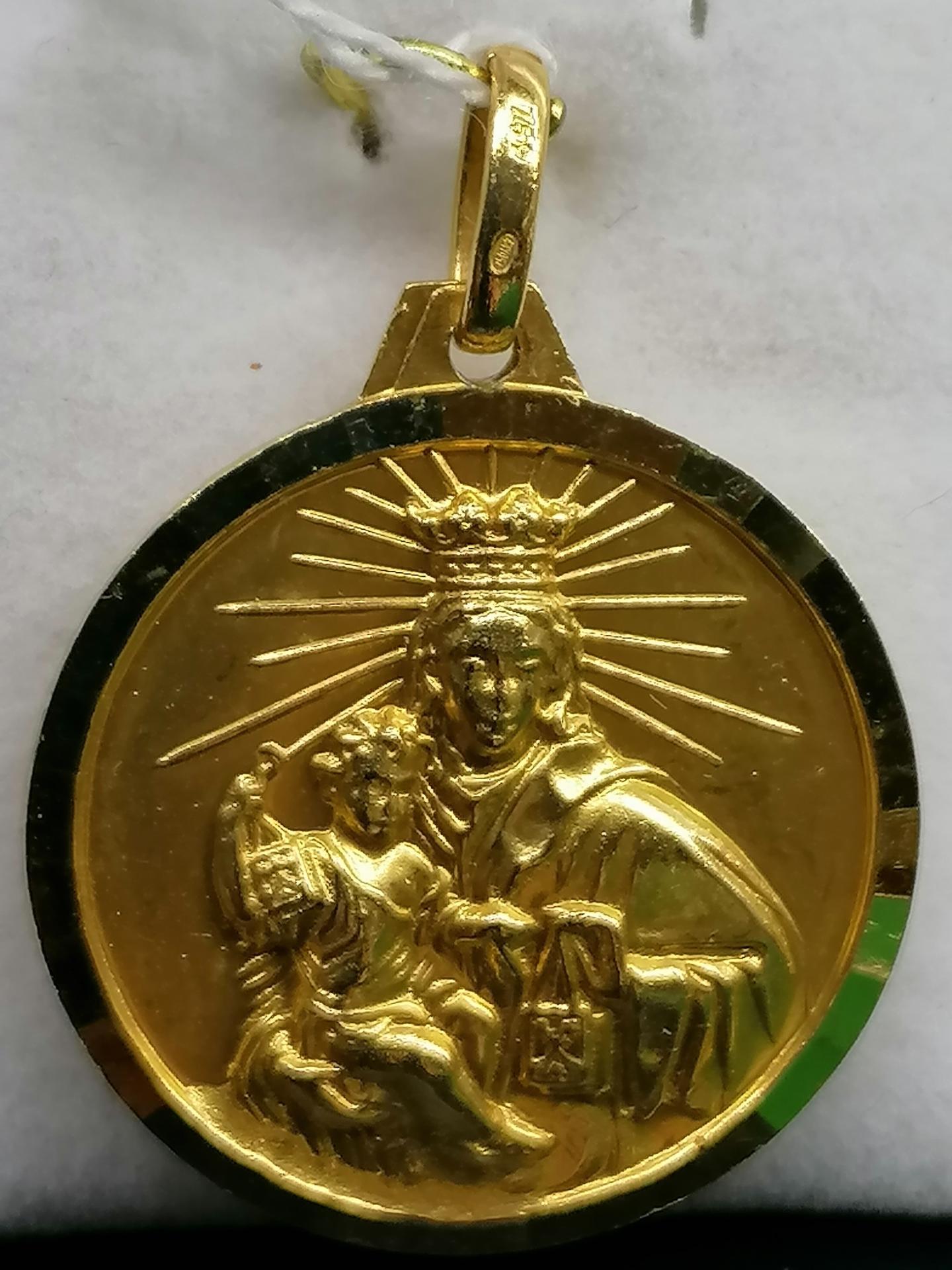 Medalla Virgen Del Carmen Y Sagrado Corazon Oro Filo Facetado