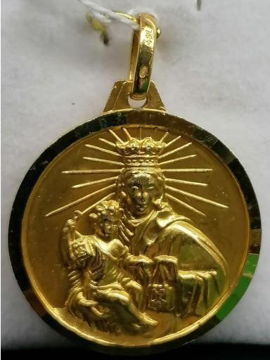 Medalla Virgen Del Carmen Y Sagrado Corazon Oro Filo Facetado [0]