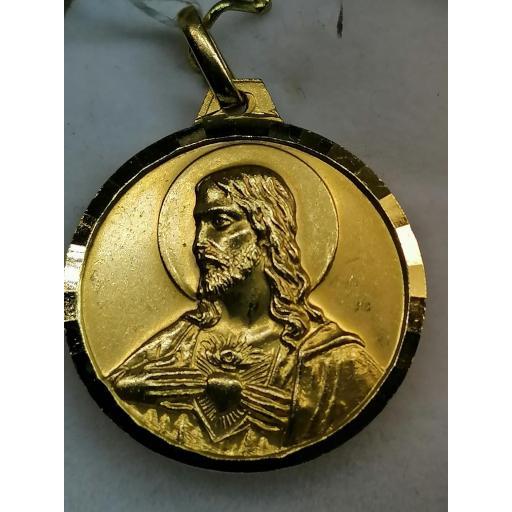 Medalla Virgen Del Carmen Y Sagrado Corazon Oro Filo Facetado [1]